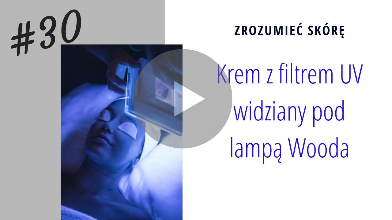 Krem z filtrem UV widziany pod Lampą Wooda